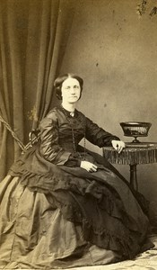 France Strasburg Woman Second Empire Fashion old CDV Photo Langrene 1860's