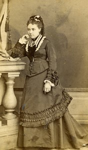 France Roubaix Woman Second Empire Fashion old CDV Photo Coudroy 1860's
