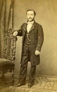 France Paris Man Second Empire Fashion old CDV Photo De La Mare 1860's