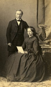 France Strasburg Couple Second Empire Fashion old CDV Photo Winter 1860's