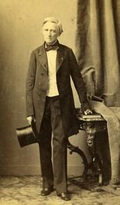 France Strasburg Man Second Empire Fashion old CDV Photo Winter 1860's