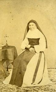 France Lille Nun Religion old CDV Photo Carette 1860's