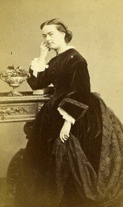 France Paris Woman Second Empire Fashion old CDV Photo Hallier 1860's