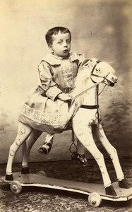 France Vincennes Children Toy Horse old CDV Photo Mayer 1890