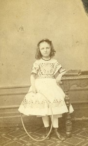 France Vichy Children Toy Hoop old CDV Photo Coutem 1860's