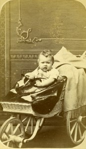 France Dieppe Child Baby Carriage old CDV Photo Gasc 1860's