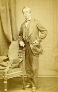 United Kingdom Manchester Man Victorian Fashion Old CDV Photo Brown 1865