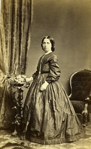 United Kingdom Wisbech Woman Victorian Fashion Old CDV Photo Johnson 1865
