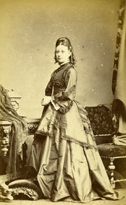 United Kingdom Halifax Woman Victorian Fashion Old CDV Photo Greaves 1865