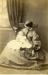 United Kingdom Grantham Woman Baby Victorian Fashion Old CDV Photo Fisher 1865