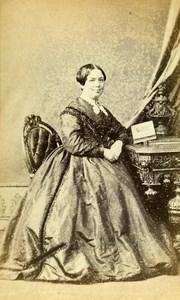 United Kingdom Huddersfield Woman Victorian Fashion Old CDV Photo Priestley 1865