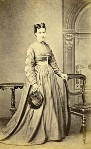 United Kingdom London Woman Victorian Fashion Old CDV Photo 1865