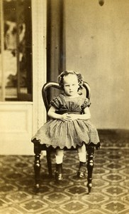 United Kingdom Hull Child Girl Victorian Fashion Old CDV Photo Brown 1865