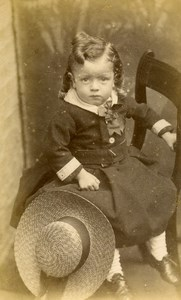 United Kingdom March Children Victorian Fashion Old CDV Photo Lean 1865