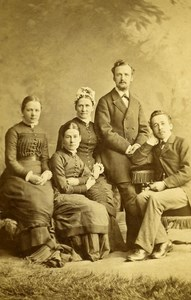 United Kingdom Halifax Family Group Victorian Fashion Old CDV Photo Greaves 1865