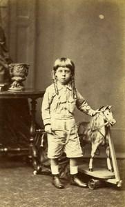 United Kingdom Manchester Children Toy Horse Victorian Fashion CDV Photo 1870