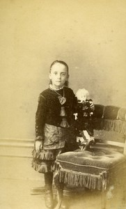 United Kingdom London Girl & Doll Victorian Fashion Old CDV Photo Garlick 1870