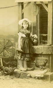 France Royat Girl in Clogs Chicken Traditional Costume CDV Photo Leopold 1885