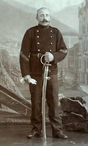 Switzerland Thun Military Soldier Old CDV Photo Konig 1890