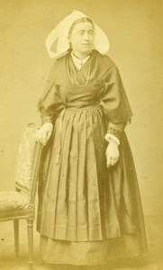 France Paris Woman Traditional Fashion Old CDV Photo Berthaud 1865