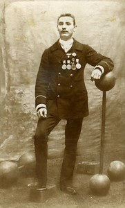 France Paris Hercules Strongman Weight Old CDV Photo 1890