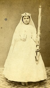 France Albi Communion Candle Old CDV Photo Prompt 1865