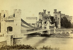 United Kingdom Conway Castle & Bridge Old CDV Photo Bedford 1865