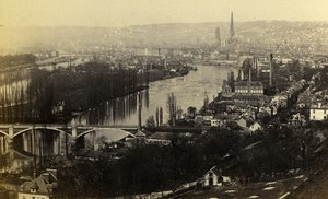 France Rouen panorama Old CDV Photo Neurdein 1865