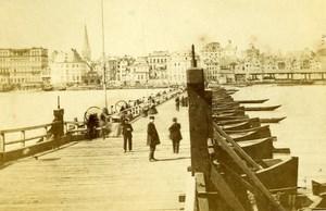 Germany Koln Boats Bridge panorama Old CDV Photo 1865
