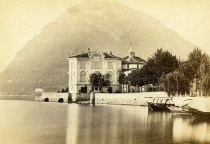 Italy Genova Lake Lugano Hotel Old CDV Photo Degoix 1865