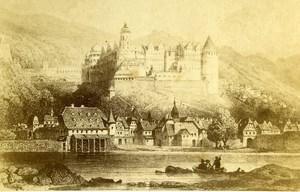 Germany Heidelberg castle Old CDV Photo of Gravure Meder 1865
