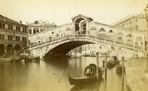 Italy Venezia Rialto Bridge Old CDV Photo Naya 1865