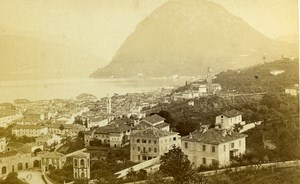 Italy Lugano Panorama Old CDV Photo Nessi 1865