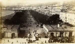 Italy Napoli Panorama Villa Reale Old CDV Photo Sommer 1870