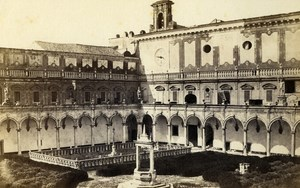 Italy Napoli Cloister Interior Old CDV Photo Sommer 1870