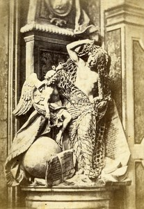 Italy Napoli Sculpture Detail Old CDV Photo Sommer 1870