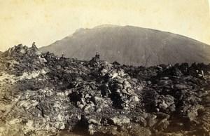 Italy Napoli Eruzione Vesuvio Vesuvius Volcano Eruption CDV Photo Sommer 1872