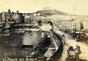 Italy Napoli Panorama taken from Molo Old CDV Photo Rive 1870