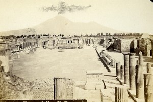 Italy Napoli Pompeii el Foro Civile Old CDV Photo Rive 1870