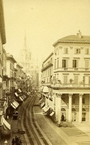 Italy Milano Corso Vittorio Emanuele Old CDV Photo Brogi 1870