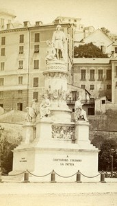 Italy Genova Cristoforo Colombo Statue Old CDV Photo Noack 1870