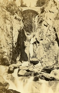Switzerland Valais Salvan Triege Bridge Old CDV Photo Braun 1870