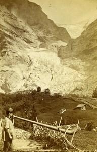 Switzerland Grindelwald Glavier Old CDV Photo Gabler 1870