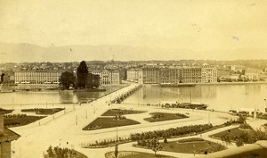 Switzerland Geneva Panorama Old CDV Photo Garcin 1870