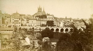 Switzerland Geneva panorama Old CDV Photo Charnaux 1870