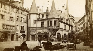 Switzerland Neufchatel Market Old CDV Photo Bruder 1870
