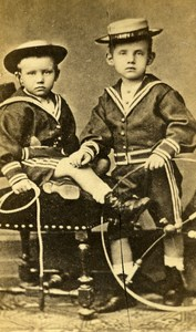 France Paris Children and their Toys Old CDV Photo 1860