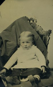 American Ferrotype Tintype Baby Seated Old Photo 1880