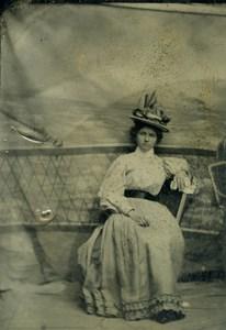 American Ferrotype Tintype Woman Old Photo 1880