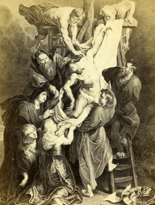 France Descent from the Cross by Rubens Old Goupil CDV Photo of Painting 1865